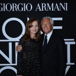 Mr. Armani and Isabelle Huppert