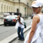nike baseball cap+white dress+street style+fashion