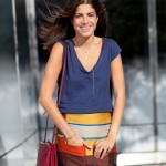 STREET-STYLE-BLOGGER-STYLE-MAN-REPELLER-LEANDRA-MEDINE-FASHION-WEEK-SS-SPRING-SUMMER-2013-STRIPE-COLOR-BLOCK-FLARE-HEM-SKIRT-BASIC-TEE-TSHIRT-LAYERED-NECKLACES-CELINE-BURGUNDY-RED-CROSS-BODY-BAG