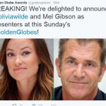 Mel Gibson e Olivia Wilde apresentarão prêmios no Globo de Ouro