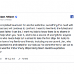 Ben Affleck anuncia que terminou tratamento de alcoolismo