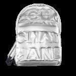 Chanel-Silver-Embossed-Nylon-Chanel-Doudoune-Large-Backpack-Bag