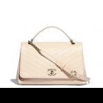 Chanel-Beige-Calfskin-Chevron-Chic-Medium-Top-Handle-Bag