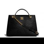 Chanel-Black-CalfskinElaphe-Chevron-Chic-Large-Shopping-Bag