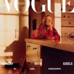 Gisele Bündchen, sem maquiagem, de pijama, na Vogue Italia