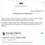 Meghan Markle confirma que pai não comparecerá ao casamento real