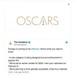 Oscar premiará filme popular e terá menos tempo de cerimônia