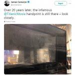 Mãos de Kate Winslet no vidro em cena de sexo de Titanic, continuam intactas
