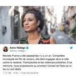 Prefeita de Paris propõe homenagem a Marielle Franco