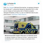 Sob forte esquema de segurança, Michael Schumacher dá entrada em hospital de Paris