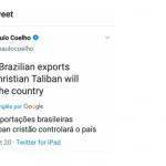 Paulo Coelho pede boicote às exportações brasileiras e apaga tuíte