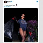 Rihanna alfineta Donald Trump ao postar foto recolhendo o lixo