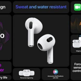 Apple anuncia novos AirPods 3 com áudio espacial e design similar aos AirPods Pro